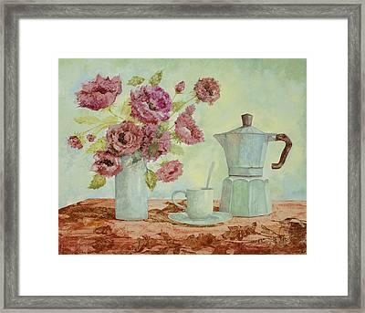 La Caffettiera E I Fiori Amaranto Framed Print by Guido Borelli