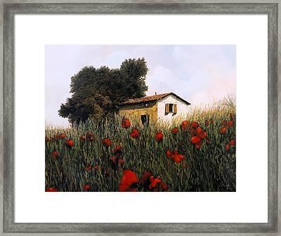 La Casetta In Mezzo Ai Papaveri Framed Print by Guido Borelli