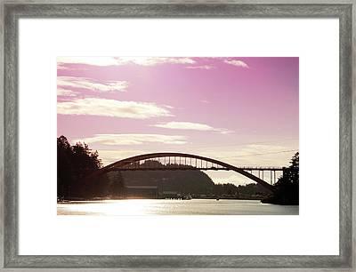 La Conner Rainbow Bridge-  By Linda Woods Framed Print by Linda Woods