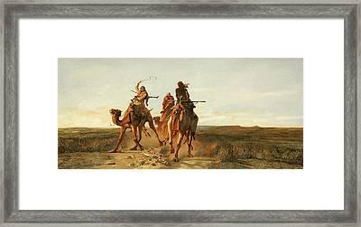 La Corsa Con I Cammelli Framed Print by Guido Borelli