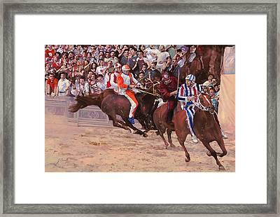 La Corsa Del Palio Framed Print by Guido Borelli