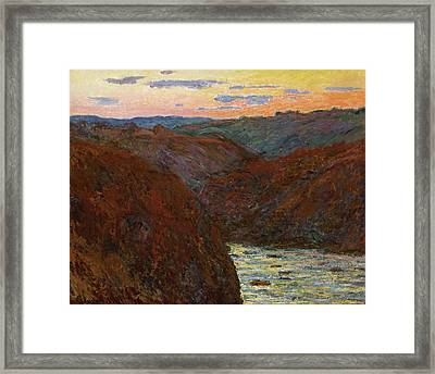 La Creuse, Sunset Framed Print by Claude Monet