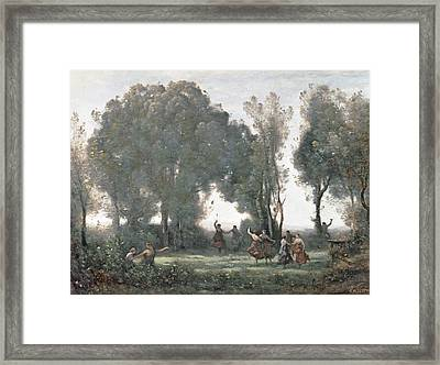 La Danse Des Nymphes Framed Print by Jean Baptiste Camille Corot