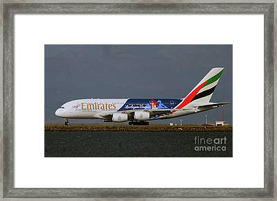 La Dodgers A380 Ready For Take-off At Sfo Framed Print