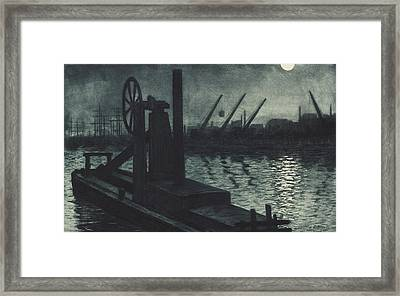 La Drague De Dieppe Framed Print by Henri Charles Guerard