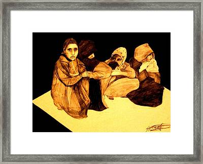 Framed Print featuring the drawing La It Khafeen Habibti by MB Dallocchio