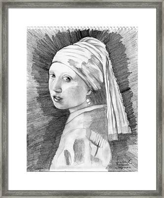 Girl With A Pearl Earring Framed Print by Cerna Painter-