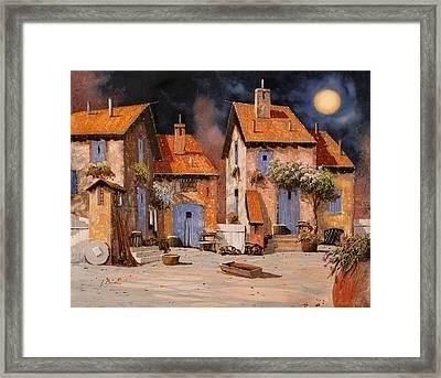 La Luna Gialla Framed Print by Guido Borelli