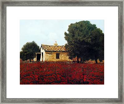 La Masseria Tra I Papaveri Framed Print by Guido Borelli