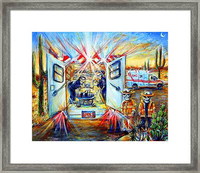 Framed Print featuring the painting La Paramedica by Heather Calderon