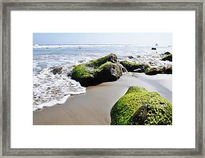 Framed Print featuring the photograph La Piedra Shore Malibu by Kyle Hanson
