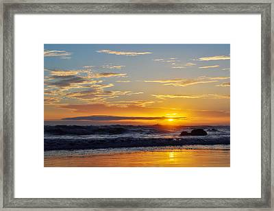 Framed Print featuring the photograph La Piedra Sunset Malibu by Kyle Hanson
