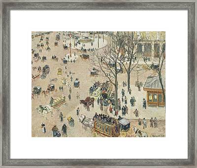 La Place Du Theatre Francais Framed Print by Camille Pissarro