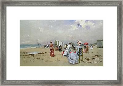 La Plage De Trouville Framed Print by Paul Rossert