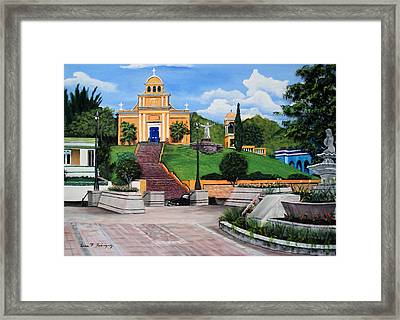 La Plaza De Moca Framed Print by Luis F Rodriguez