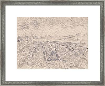 La Pluie Enclosed Field With A Sower In The Rain 1890 Framed Print by Vincent Van Gogh