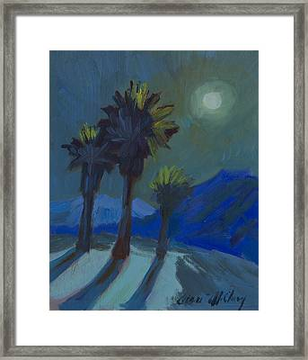 La Quinta Cove And Moonlight Framed Print by Diane McClary