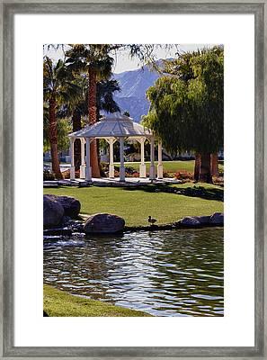 La Quinta Park Lake And Gazebo Framed Print by Linda Dunn