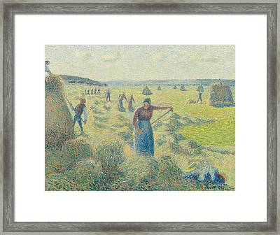 The Harvesting Of Hay Eragny  Framed Print by Camille Pissarro