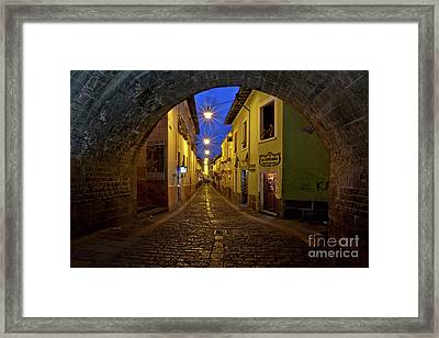 La Ronda Calle In Old Town Quito, Ecuador Framed Print