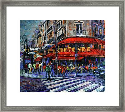 La Rotonde Paris Modern Impressionist Palette Knife Oil Painting Framed Print