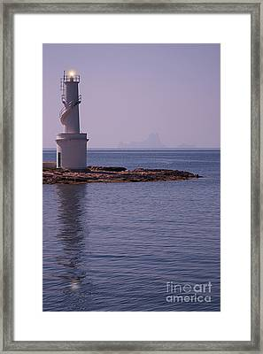La Sabina Lighthouse Formentera And The Island Of Es Vedra Framed Print by John Edwards