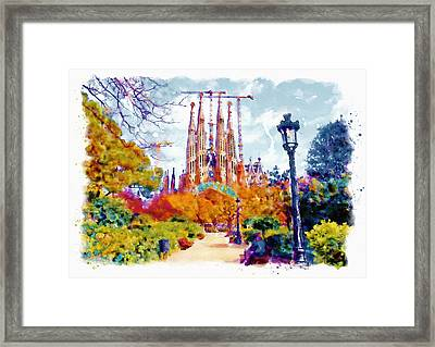 La Sagrada Familia - Park View Framed Print by Marian Voicu