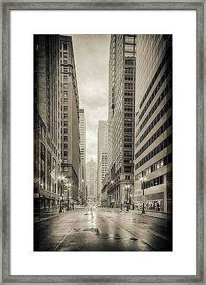 Lasalle Street Canyon With Chicago Board Of Trade Building At The South Side - Chicago Illinois Framed Print by Silvio Ligutti