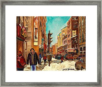 La Senza St Catherine Street Downtown Montreal Framed Print