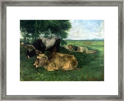 La Siesta Pendant La Saison Des Foins Framed Print by Gustave Courbet