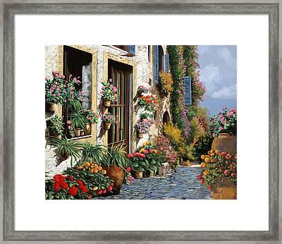 La Strada Del Lago Framed Print by Guido Borelli