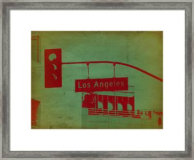 La Street Ligh Framed Print by Naxart Studio