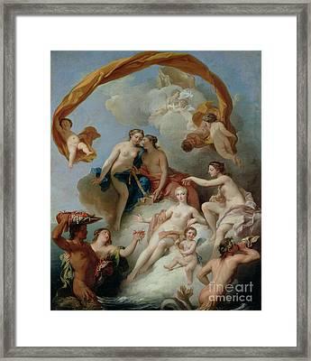 La Toilette De Venus Framed Print by Francois Lemoyne