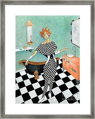 La Toilette -- Woman In Whimsical Art Deco Bathroom Framed Print