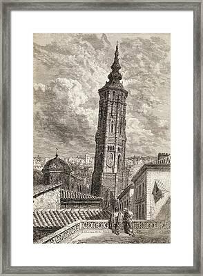 La Torre Nueva Or Inclinada In Framed Print by Vintage Design Pics