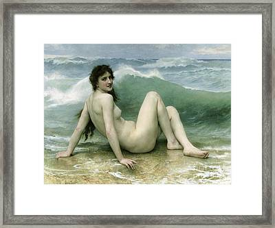 La Vague Framed Print by William Adolphe Bouguereau