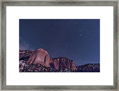 La Ventana Arch With The Orion Framed Print