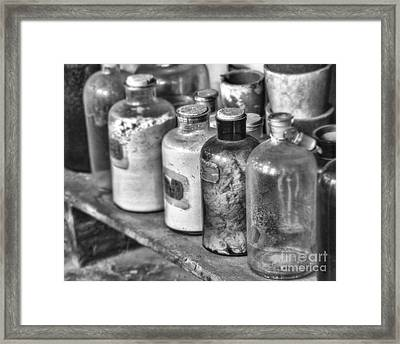 Lab Bottles Bw Framed Print by Jerry Fornarotto