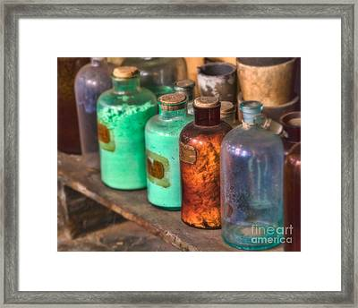 Lab Bottles Framed Print by Jerry Fornarotto