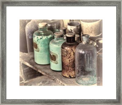 Lab Bottles Tinted Framed Print by Jerry Fornarotto