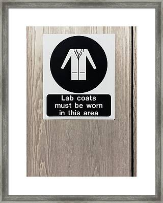 Lab Coats Sign Framed Print by Tom Gowanlock