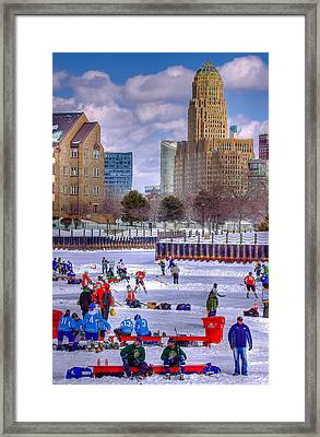 Framed Print featuring the photograph Labatts Pond Hockey by Don Nieman