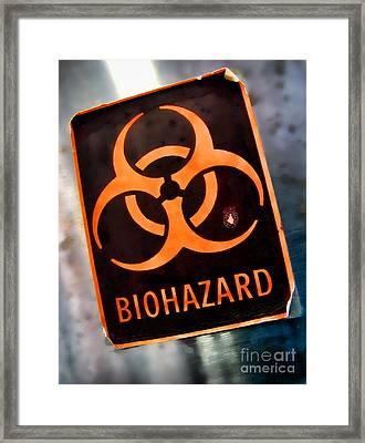 Laboratory Biohazard Danger Warning Label Framed Print by Olivier Le Queinec