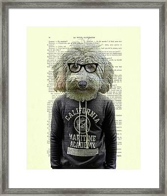 Labradoodle Dog Portrait Art Framed Print by Madame Memento