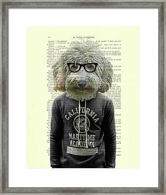 Labradoodle Dog Portrait Art Framed Print