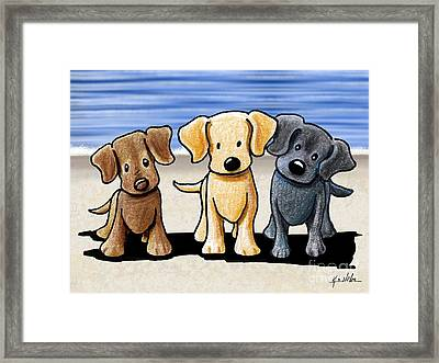 Labrador Beach Trio Framed Print