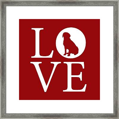 Framed Print featuring the digital art Labrador Love Red by Nancy Ingersoll