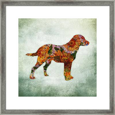Labrador Retriever Floral On Green Framed Print