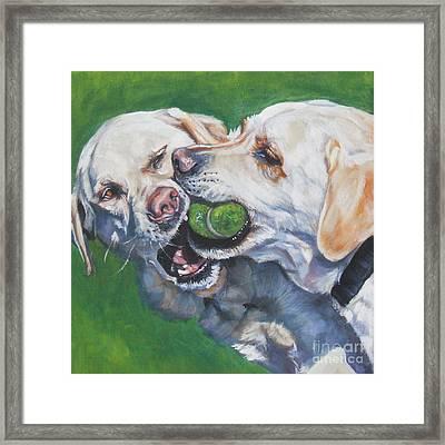 Labrador Retriever Yellow Buddies Framed Print by Lee Ann Shepard