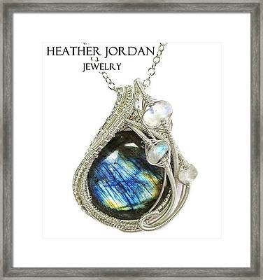 Labradorite And Sterling Silver Wire-wrapped Pendant With Rainbow Moonstone Labpss2 Framed Print